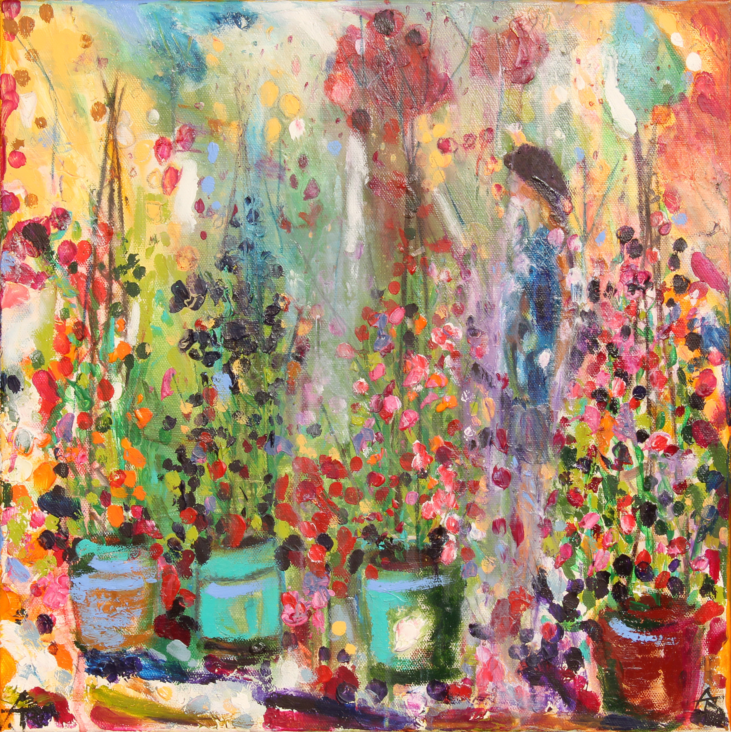 The Scent Of The Sweet Peas, acrylic on canvas, 46 x 46 cm