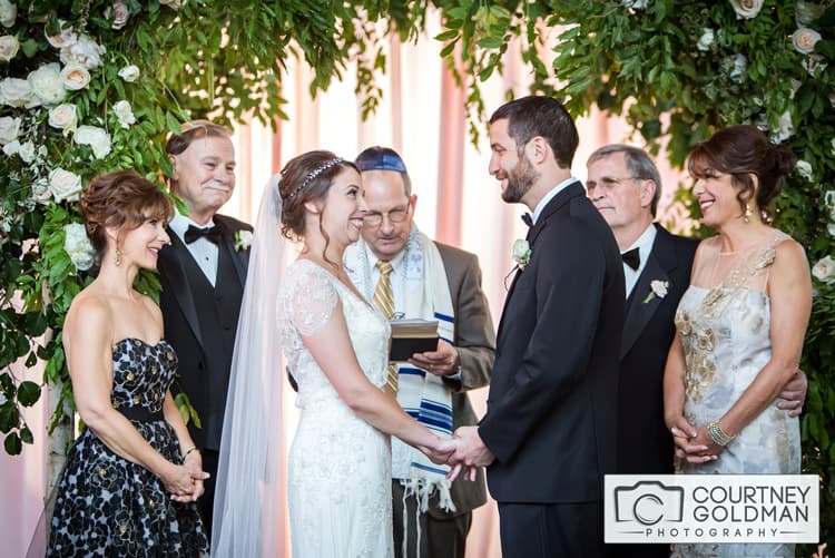 Jewish Wedding Ceremony under Floral Chuppah at The Foundry at Puritan Mill by Courtney Goldman Photography 26