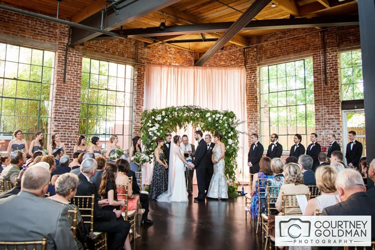 Jewish Wedding Ceremony under Floral Chuppah at The Foundry at Puritan Mill by Courtney Goldman Photography 27