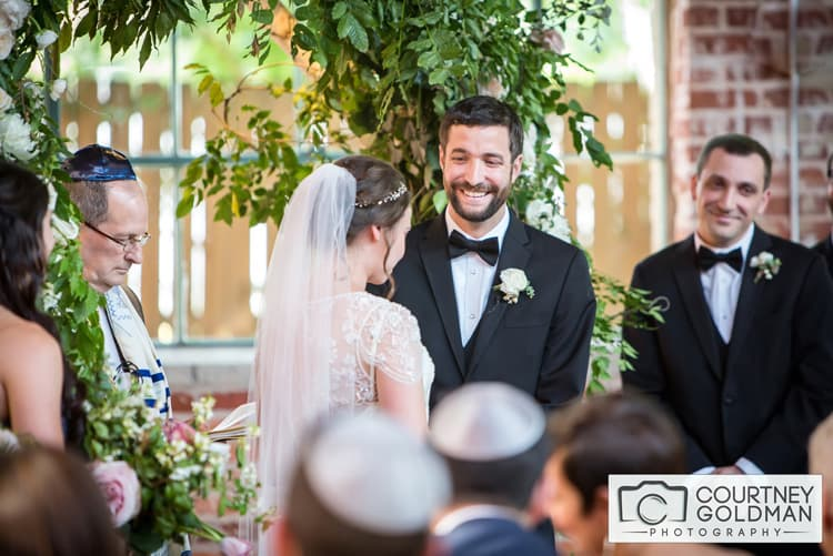 Jewish Wedding Ceremony under Floral Chuppah at The Foundry at Puritan Mill by Courtney Goldman Photography 29