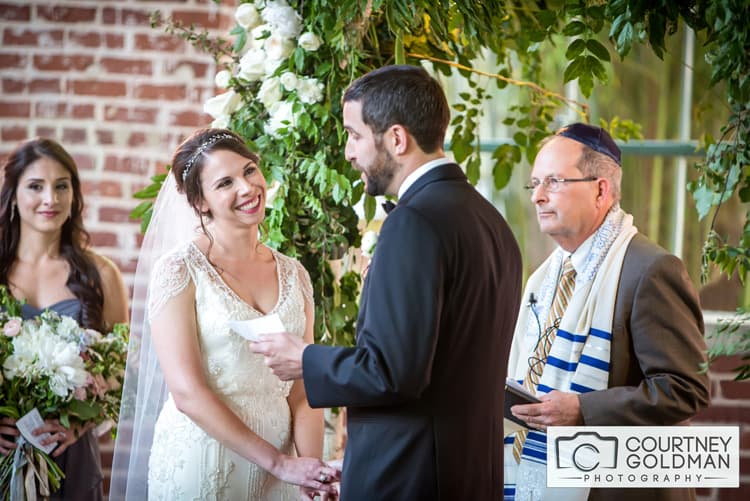 Jewish Wedding Ceremony under Floral Chuppah at The Foundry at Puritan Mill by Courtney Goldman Photography 30