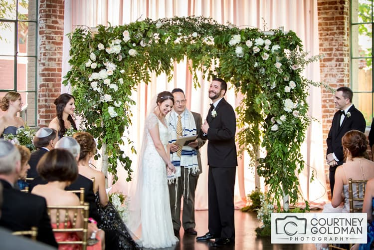 Jewish Wedding Ceremony under Floral Chuppah at The Foundry at Puritan Mill by Courtney Goldman Photography 31