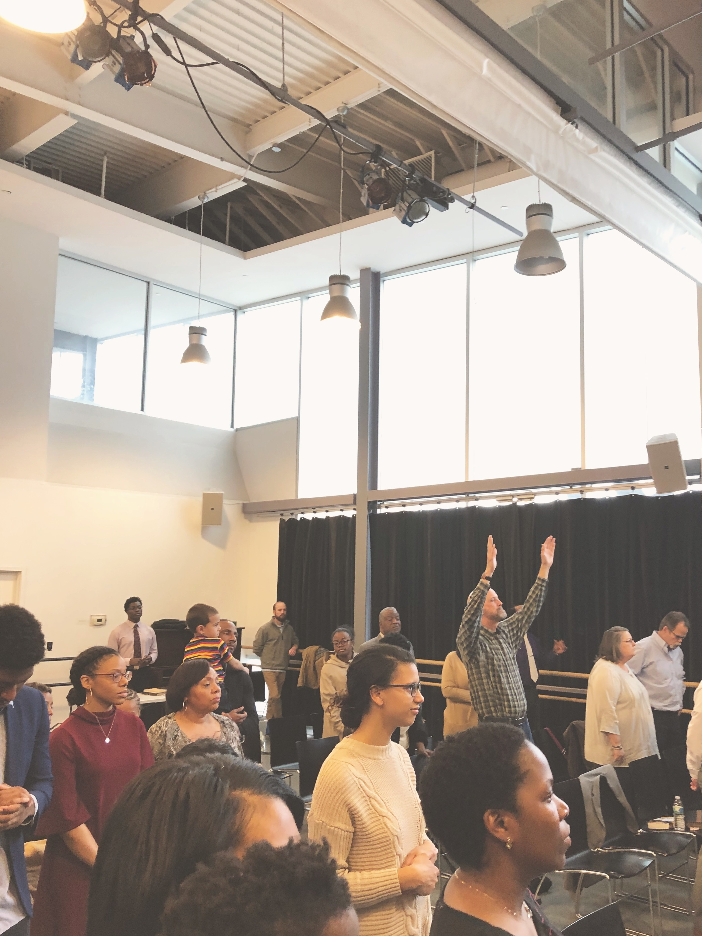 We meet every Sunday at 10:30 AM at the Dance Institute of Washington D.C - Sunday service is laid back and casual so come as you are. We also serve coffee, tea, and pastries before service.