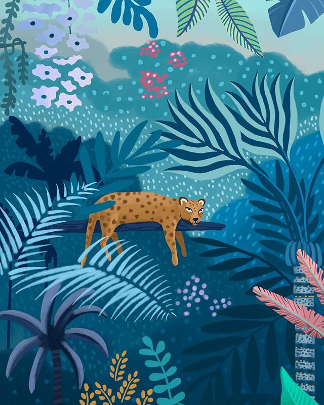 "This one lazy leopard chilling on a branch is a significant detail of my ""Lost"" illustration. I enjoyed a lot working on this one and choosing all the different shades of blues and violets. Since I started this account I've been trying out different color palettes but using blues and greens still is my favorite color combo. This one is available as a print at my shop.🐆 ••••• Made with @procreate ••••• #tropicalillustration #jungleillustration #botanicalart #plantsillustration #forestillustration #picturebook #floralillustration #illustree #plantillustration #editorialillustration #illustration #ilustracion #ilustración #ilustracja #ilustração #illo #illustratie #illustratrice #procreate #leafillustration #ilustradora #femaleillustrator #illustration_art #illustrationartist #illustrationwork #designarf #botanicalartist #digitalillustration #procreateapp #surfacepattern"