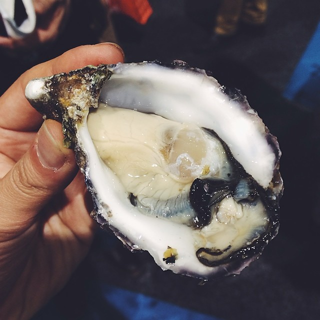 #8 Trying my first Kumiai oyster from Baja, Mexico at the Seafood Expo in Boston.