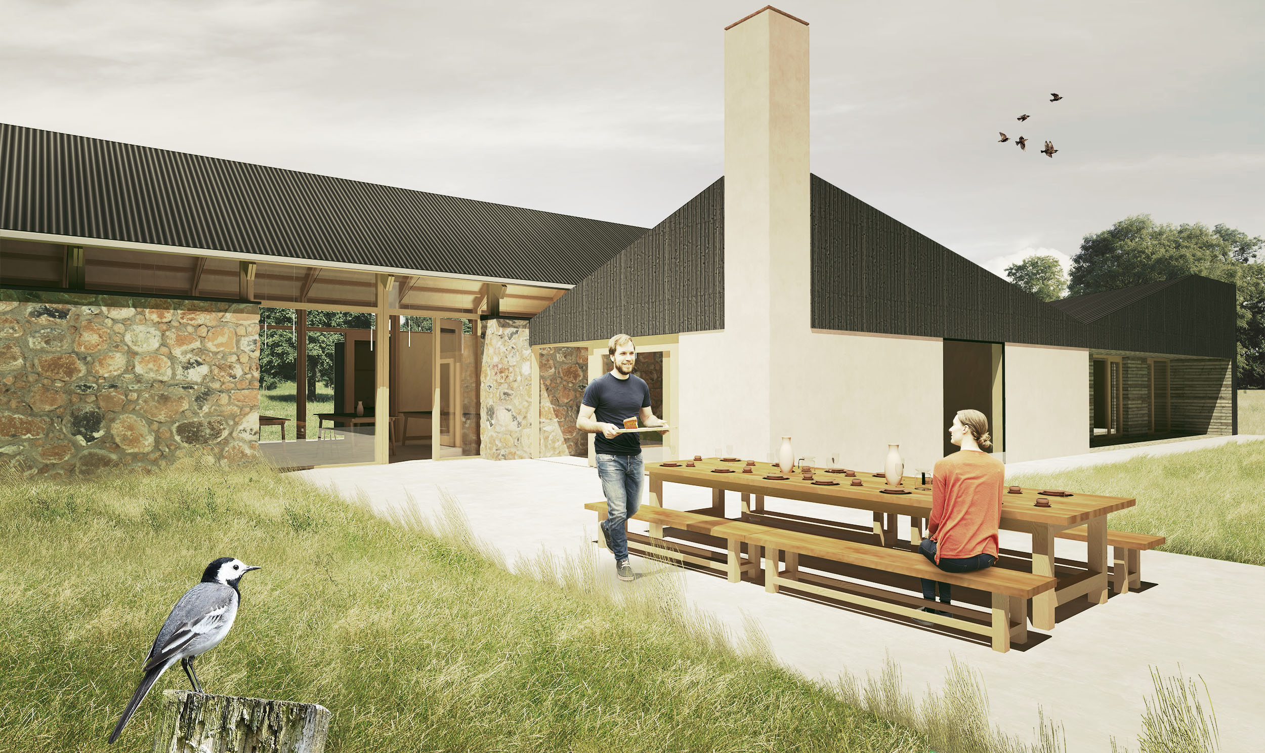Barn conversion and extension for an eco-tourism business promoting sustainable practices, connection with nature, and mental well-being.