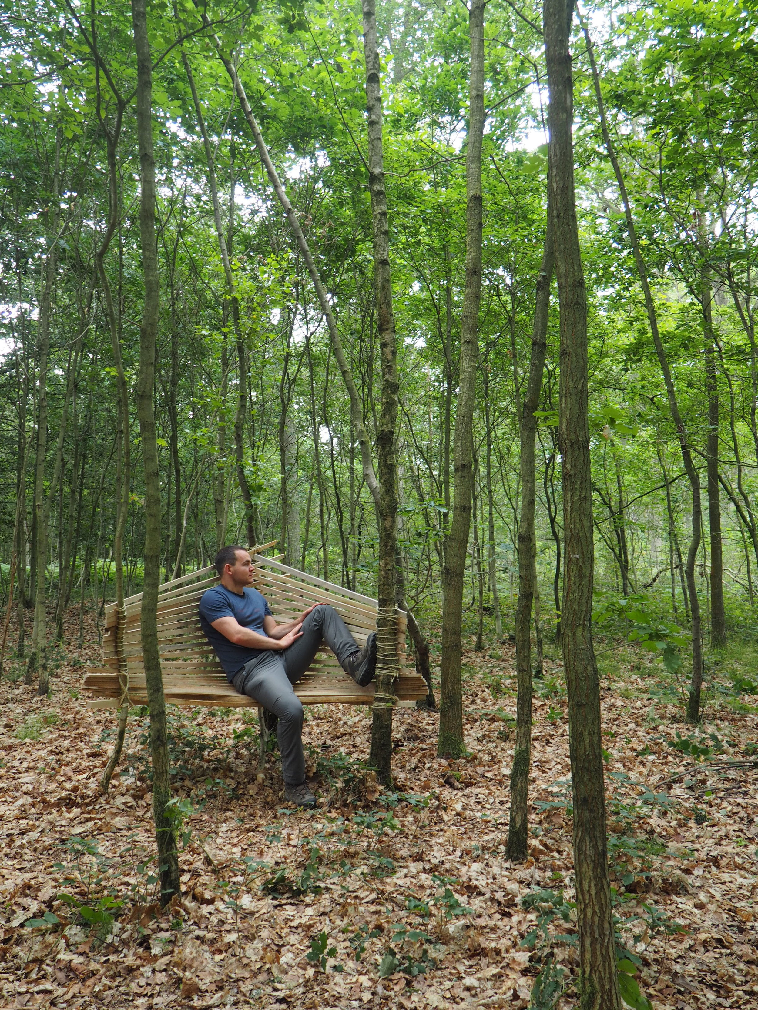Bench designed and built in the Wyre Forest, Worcestershire as part of Studio in the Woods 2019