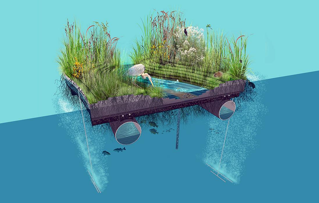 floating wetland prototype  ayer saint gross