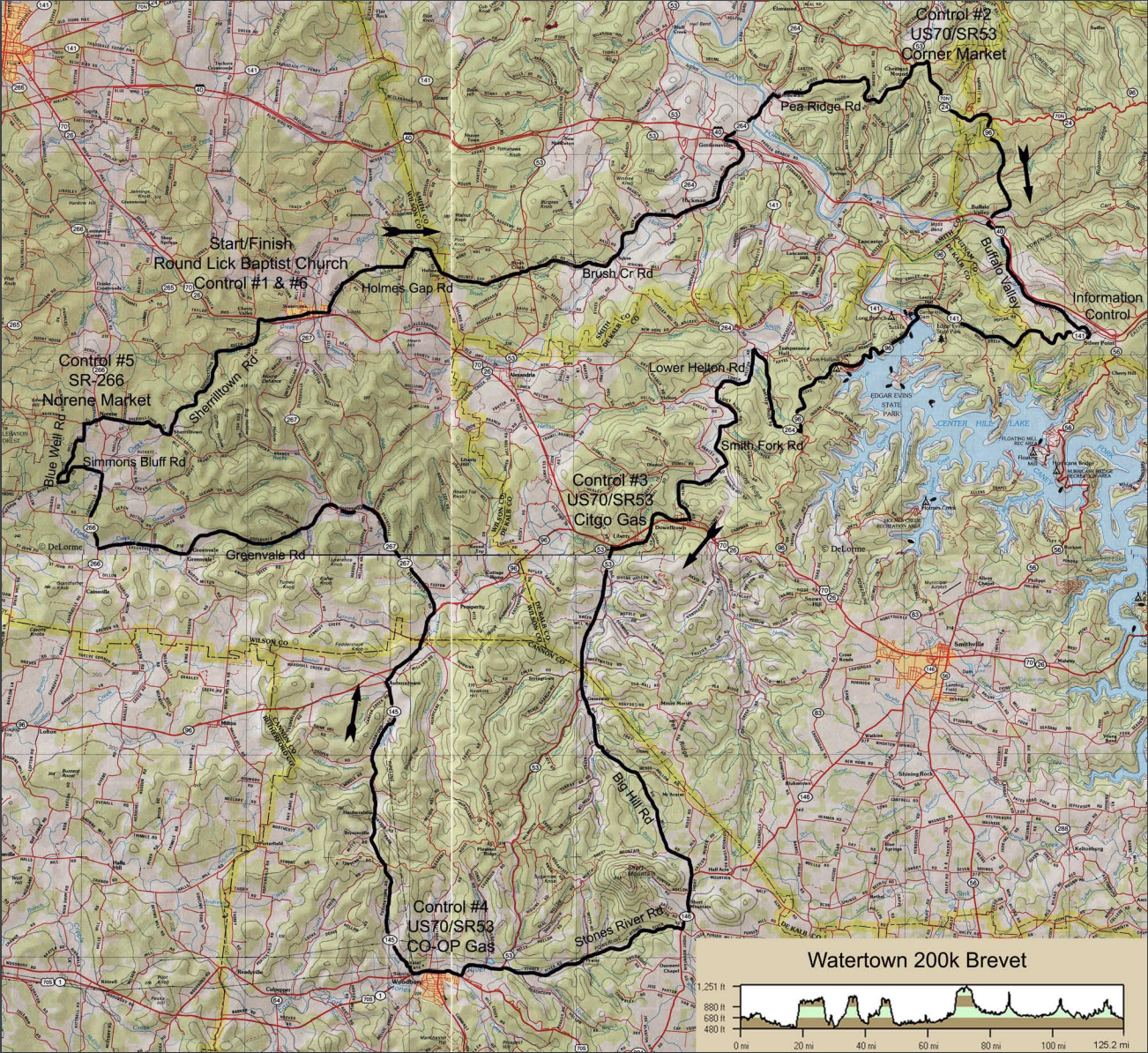 Watertown 200k - January 19, 2019PDF RouteRide with GPS RouteDirections to Watertown, TN