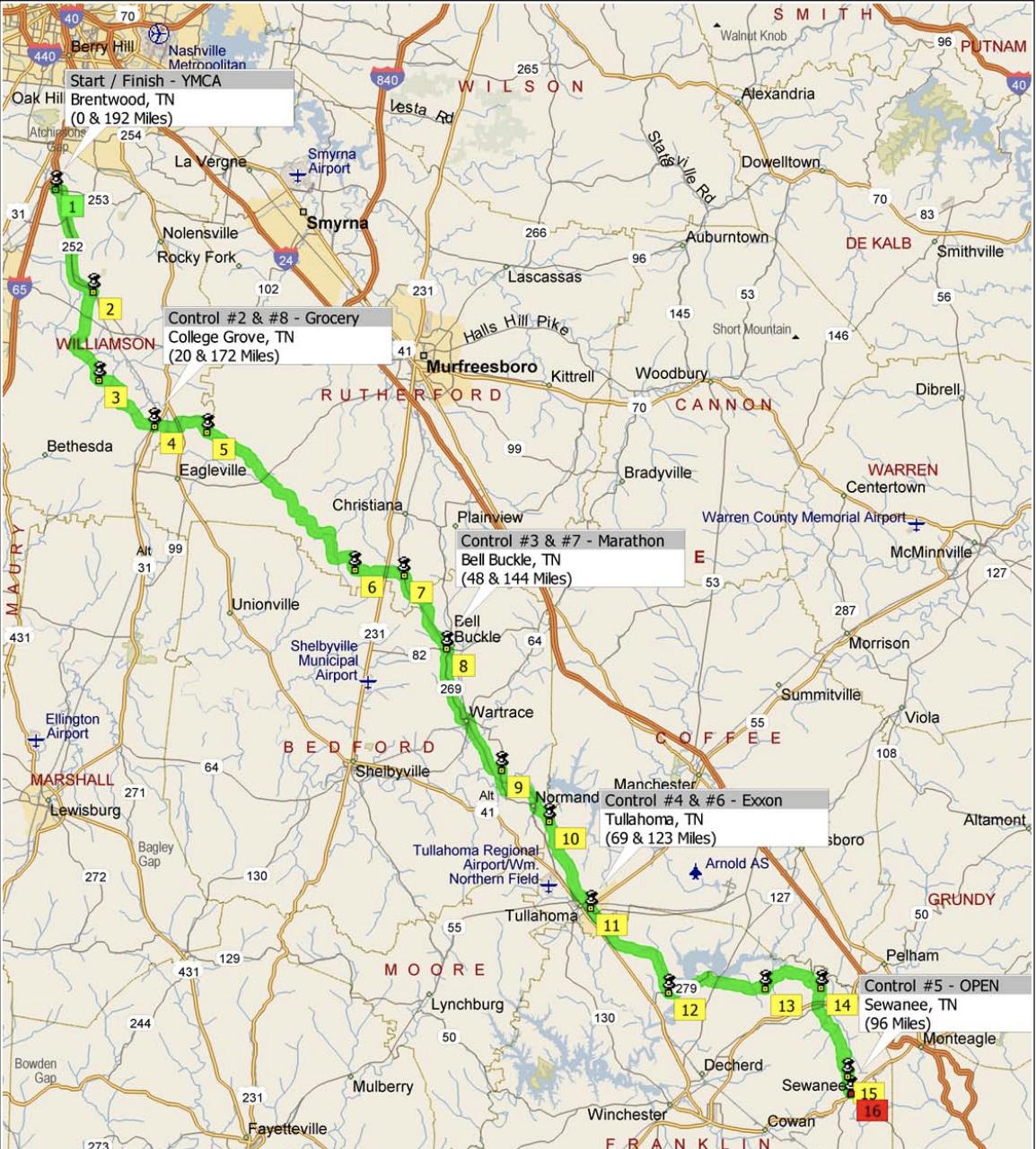 George Dickel 200K & Sewanee 300K - March 16, 2019100k: Ride With GPS Route200k: Ride With GPS Route200k: PDF Route300k: Ride With GPS Route300k: PDF Route