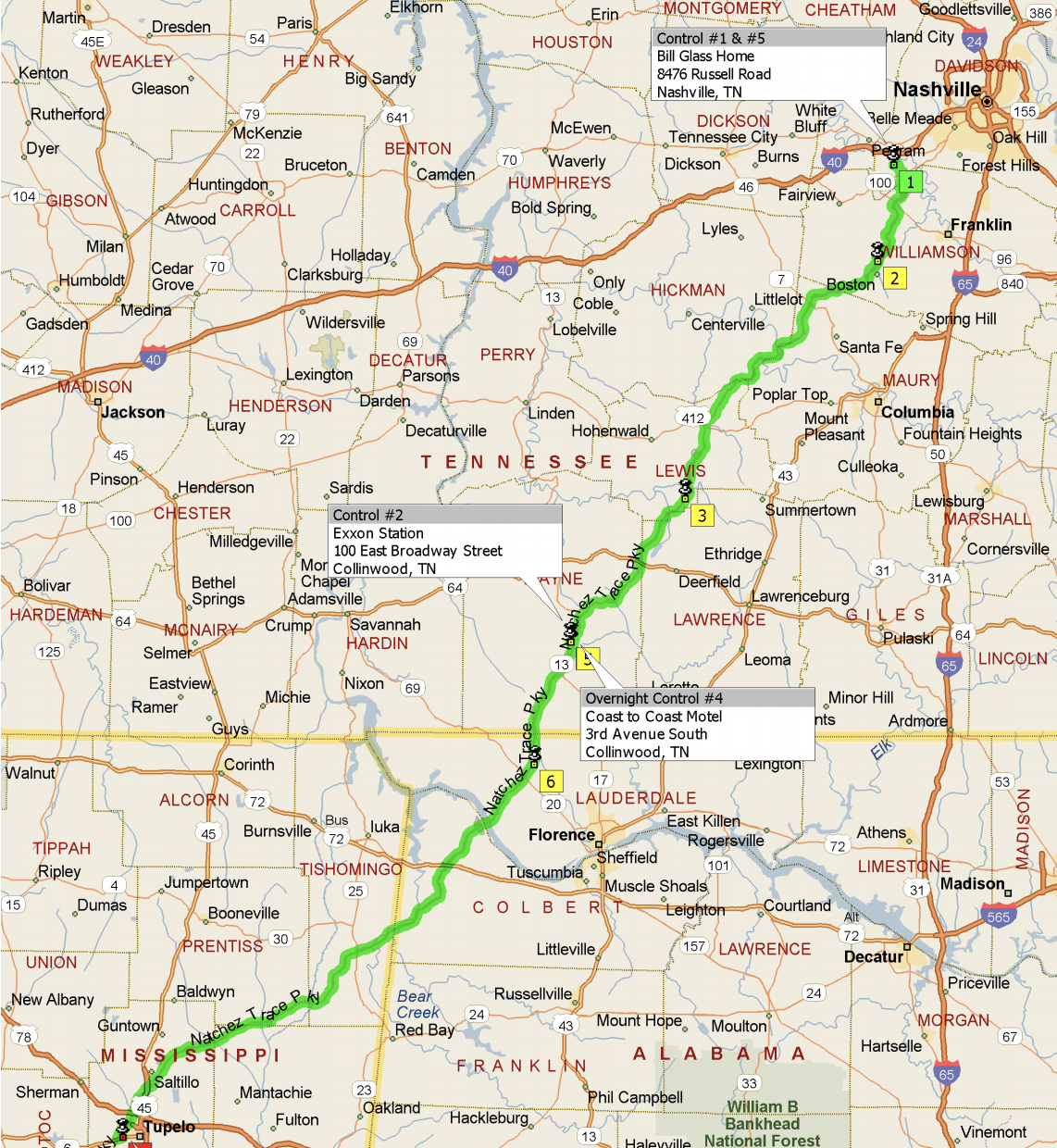 Natchez Trace 200K, 300K, 400K & 600K - April 13, 2019100k: Ride With GPS Route200k: Ride With GPS Route200k: PDF Route300k: Ride With GPS Routes Outbound + Return300k: PDF Route400k: Ride With GPS Routes Outbound + Return400k: PDF Route600k: Ride With GPS Route600k: PDF RouteDirections to Pasquo, TNRecommended Hotel