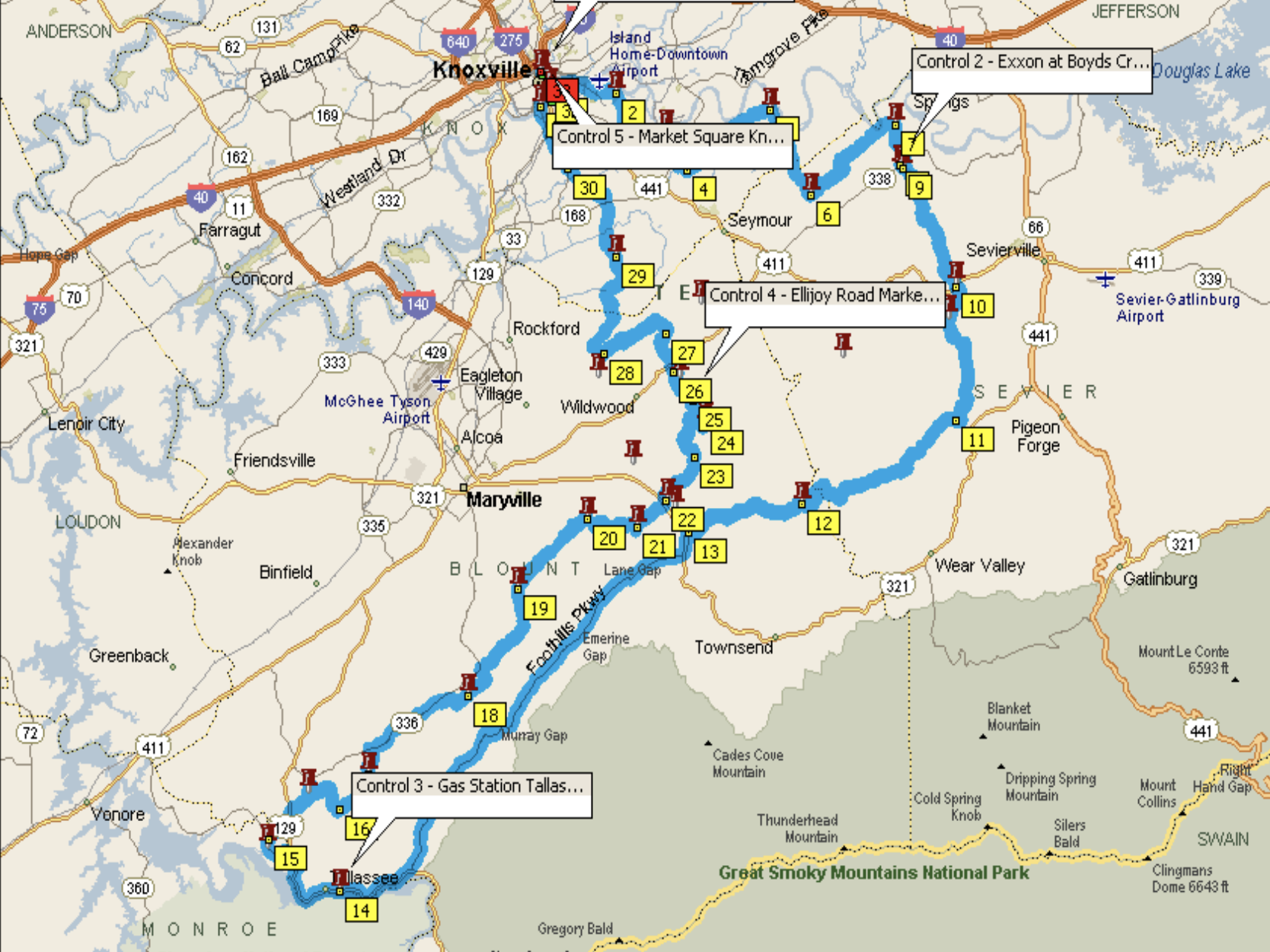 Fall Colors 200K - October 19, 2019200k: Ride With GPS Route200k: PDF RouteStarts from The Mushroom Shop in Knoxville, TN