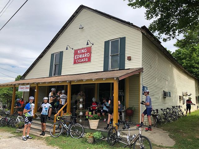 The Tuesday/Thursday group had a short stop to fuel up @thetageneralstore #harpethbikeclub #150yearsold #tnhistory