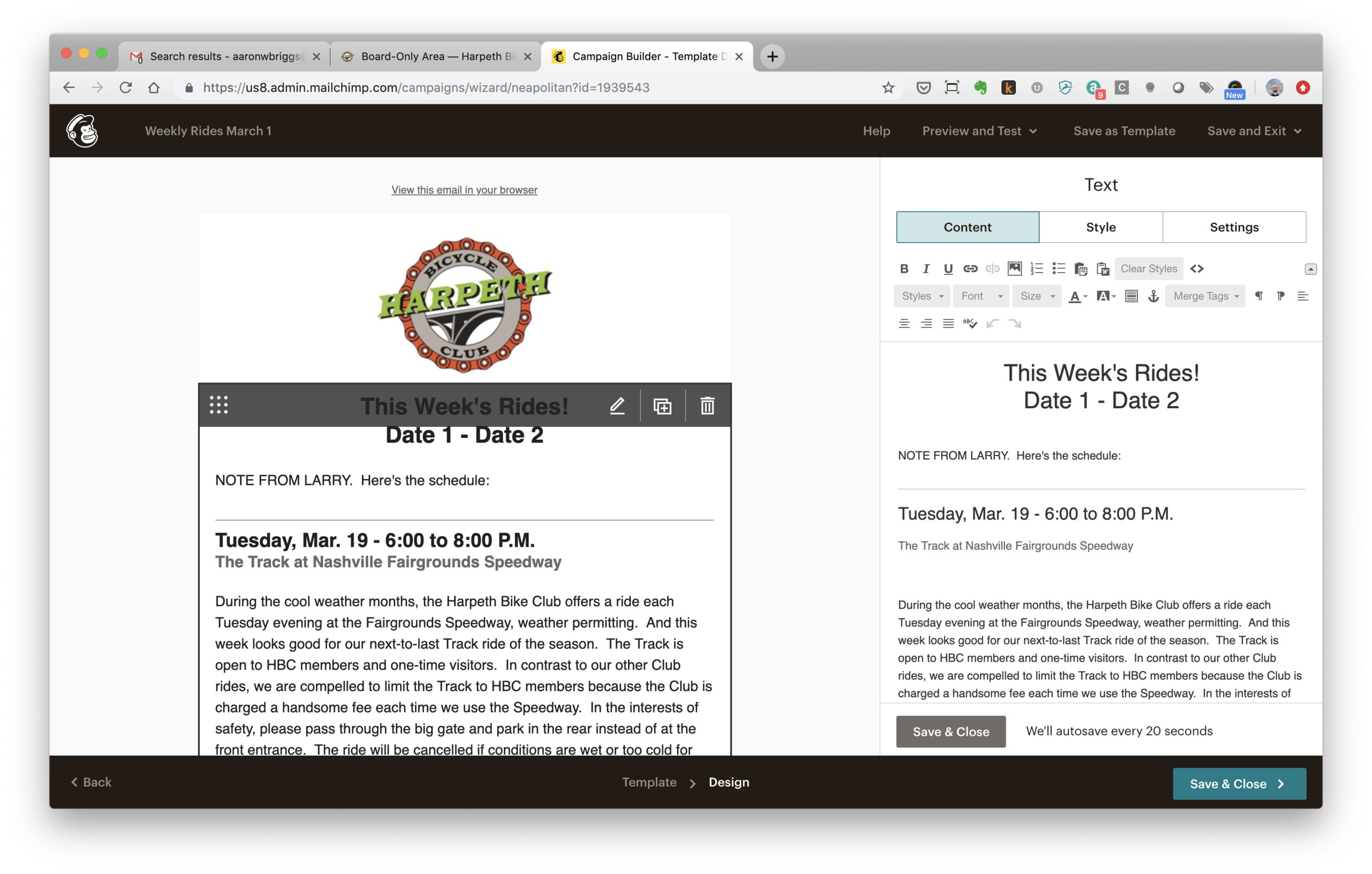 Click the content section on the right you want to edit, as described in Step 3. Then edit the content on the right as described in Step 4. Then click Save and Close as described in Steps 5 and 6.