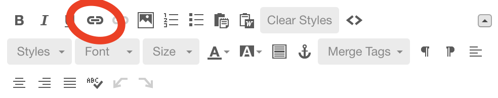 The editing Toolbar in Mailchimp.