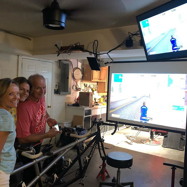 Our club has so many dedicated cyclists. These club members have taken the indoor off season training to the next level! Thanks Mike, Patty and Carla for the inspiration! #harpethbikeclub #gozwift #tripletandem #triplepain #paincavetraining
