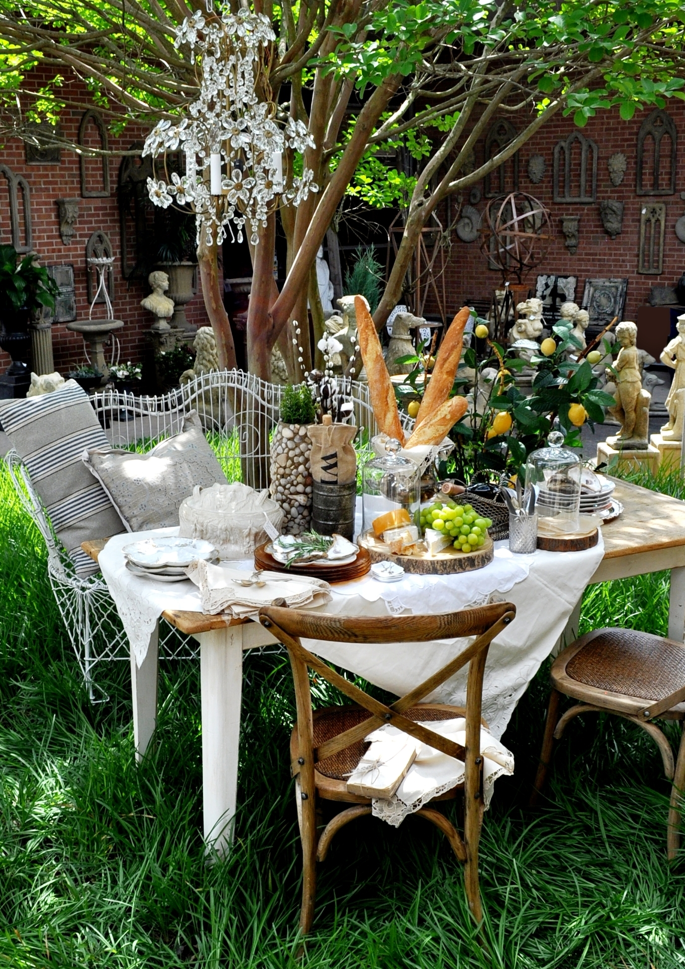 picnic under chandelier.JPG