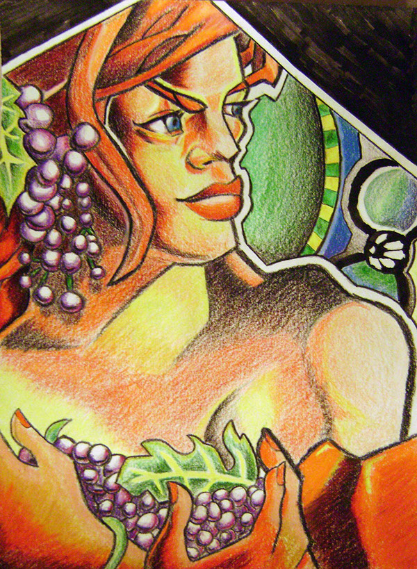 Woman Holding Grapes - I drew this with colored pencils and used a reference off of the image on the Prismacolor pencil container.