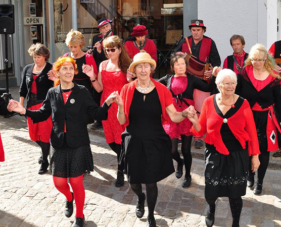 Tros an Treys - We perform, teach and encourage all forms of Cornish Dancing: set, scoot, nos lowen and guise. This year we are exploring the 18th Century tunes and dances in Mike O'Connor's 'Petticoats Tight, Petticoats Loose' book, and preparing a display set from these.