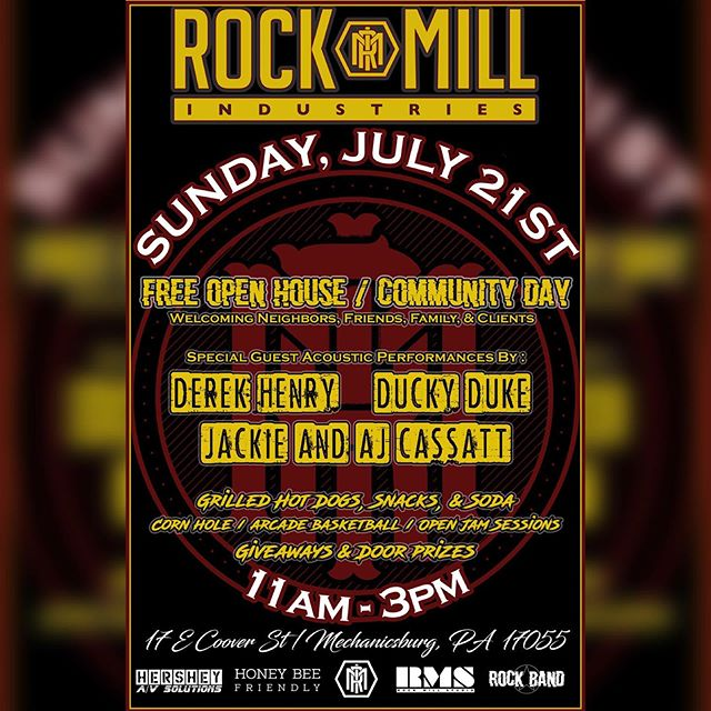 "Rock Mill Industries is hosting an open house / community day THIS Sunday! It's free! There is free food and drinks, Free entertainment and we're giving away over 100 Rock Mill T-shirt's and 100 RMI koozies! On top of all of that we are releasing our new line of RMI swag, ""ROCK MILL INK"", which will be available for purchase.  Come take a tour of all of the services we offer here and be the first to see our newly added rehearsal / video space.  This is a family friendly event so bring your moms, your kids, or that nosey grandmother that always asks about ""your friends with the tattoos"". Event starts at 11am and wraps up around 3pm. Music will begin at 11:30am. Food will be served all day. We are looking forward to having all of you over for this one of a kind, Rock Mill experience. #rockmill #rockmillink #rmi #rockmillindustries #free #community"