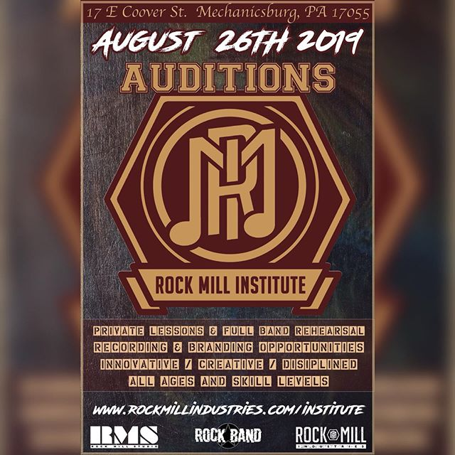 "We are proud to announce we are holding auditions for the latest add on to the RMI brand, ""Rock Mill Institute"". Auditions will be held on Monday, August 26th at the Rock Mill Location. Excepting all age groups and skill levels to get involved in a 1 of a kind experience. Private lessons, group lessons, brand awareness, recording opportunity, music business education and more are now offered under the Rock Mill umbrella. Call us at 717-691-1059 or email info@rockmillindustries.com for more information on how to enroll today.  #rockmill #rockmillinstitute #rockmillindustries #rmi #rockband #education #learn #music"