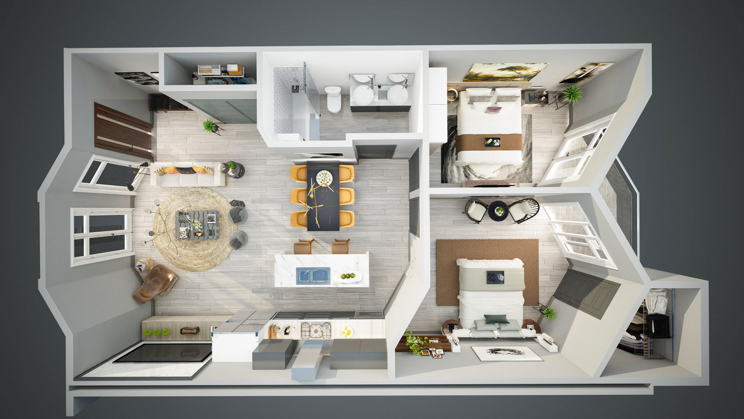 3-D floor plan. For illustration purposes only. Subject to change.