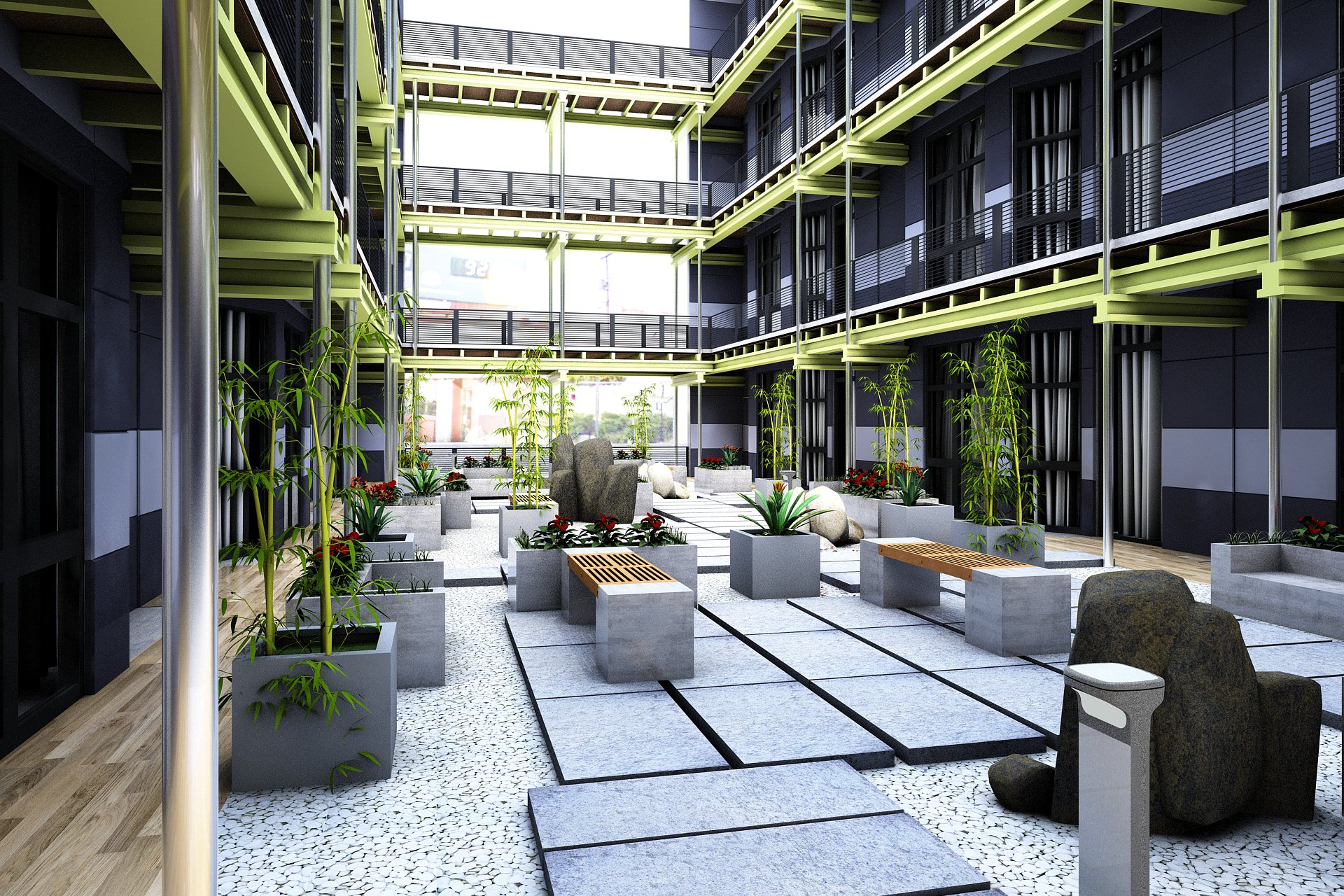Courtyard rendering. For illustration purposes. Subject to change.