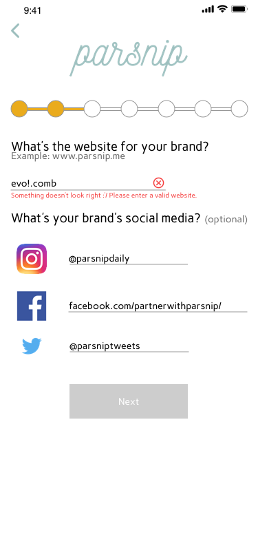 Giving people the feedback they need to give us the information we want - Website links provide an important way for brands to make more informed partnerships. The formatting example is a heuristic, providing an example outside of the text field.