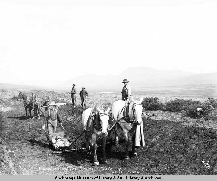 Teamsters on the Pioneer Ditch, N[ome] R[iver], Nome, Alaska.jpg