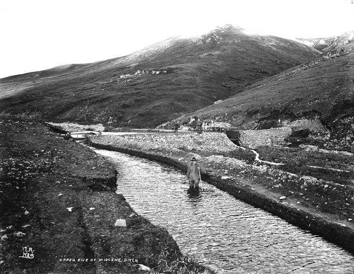 Upper end of the canal called the Miocene Ditch, Seward Peninsula, Alaska, ca. 1900.jpg