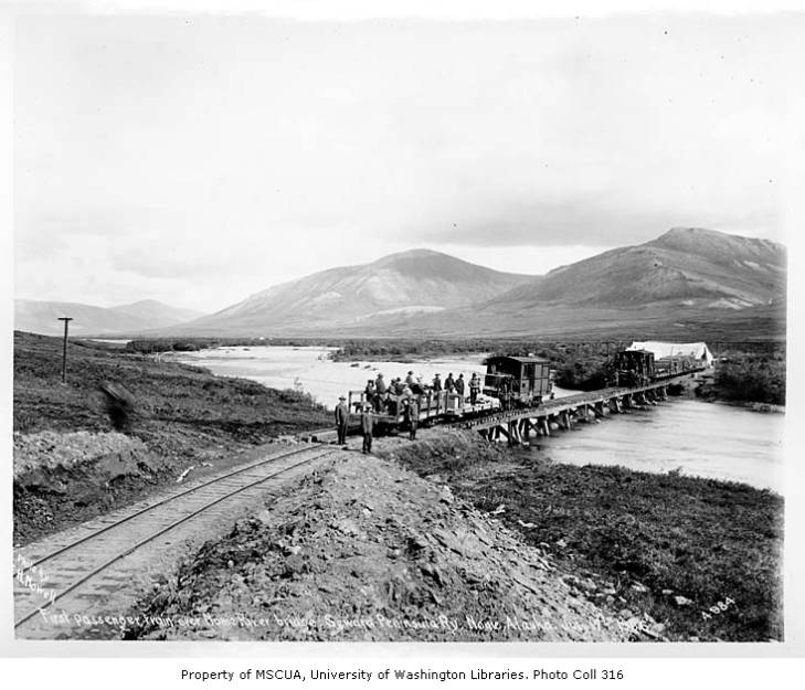 First passenger train over Nome River bridge, Seward Peninsula Railway, Nome, July 17, 1906.jpg