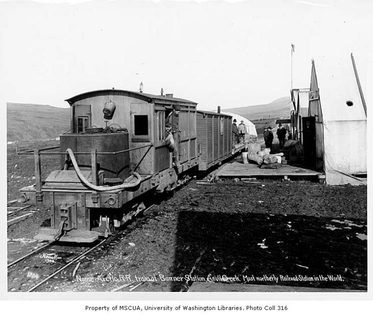 Nome Arctic Railroad train at Banner Station, Anvil Creek, ca. 1904.jpg