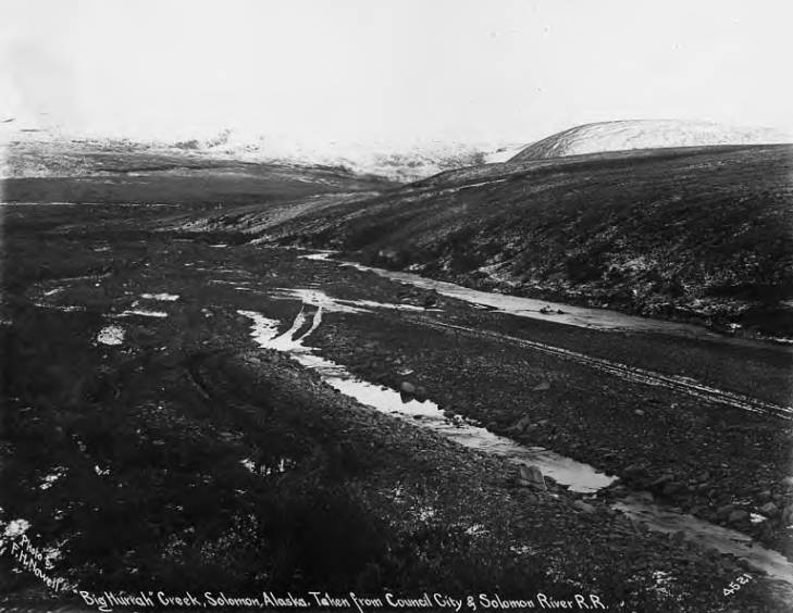Creek viewed from Council City and Solomon River Railroad, Solomon, Alaska, circa 1905.jpg