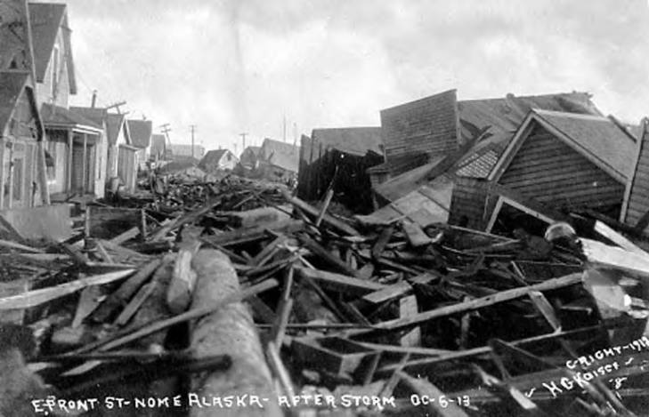 East Front Street after a big storm, Nome, Alaska, October 6, 1913.jpg