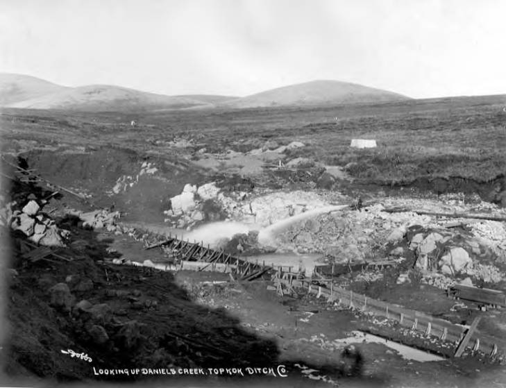 Topkok Ditch Company mining sluice at Daniels Creek, Alaska, circa 1907.jpg
