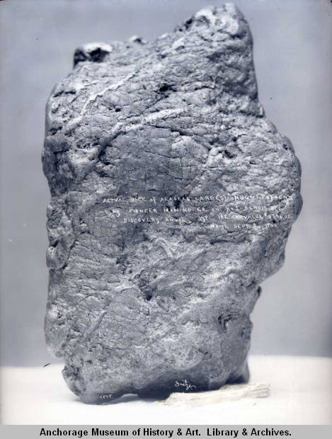 Actual size of Alaska's largest nugget found by Pioneer Mining Co. on No. 5 bench, Discovery, Anvil, wt. 182 oz., value $3276.00, Nome, Sep. 8, 1903.jpg
