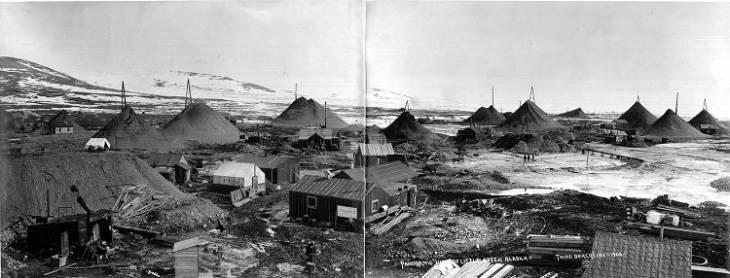 Gold mining operation at the Third Beach Line of Little Creek near Nome, Alaska, 1906.jpg