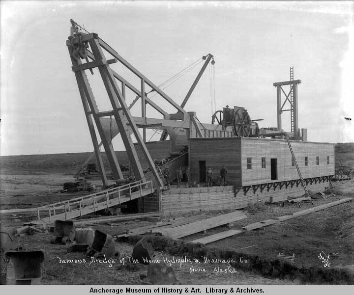 Famous dredge of the Nome Hydraulic & Drainage Co., Nome, Alask.jpg