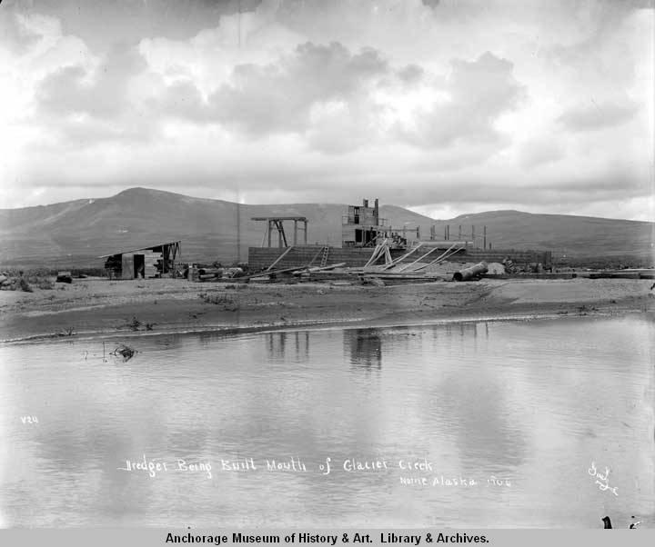 Dredger being built, mouth of Glacier Creek, Nome, Alaska, 1906..jpg
