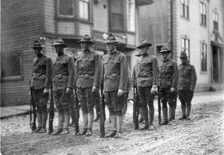 Army soldiers in formation in street, Nome, Alaska, between 1913 and 1923.jpg