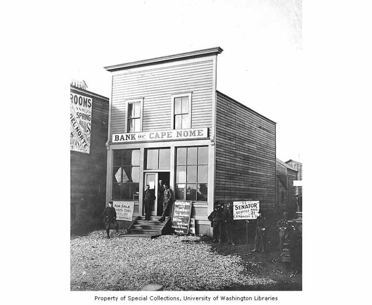 Bank of Cape Nome and Assay Office, Front Street, Nome, Alaska, between 1897 and 1907.jpg