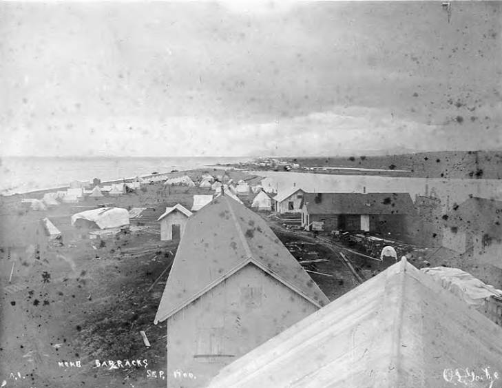 Bird's-eye view of barracks on beach at Fort Davis, Nome, Alaska, between 1900 and 1905.jpg