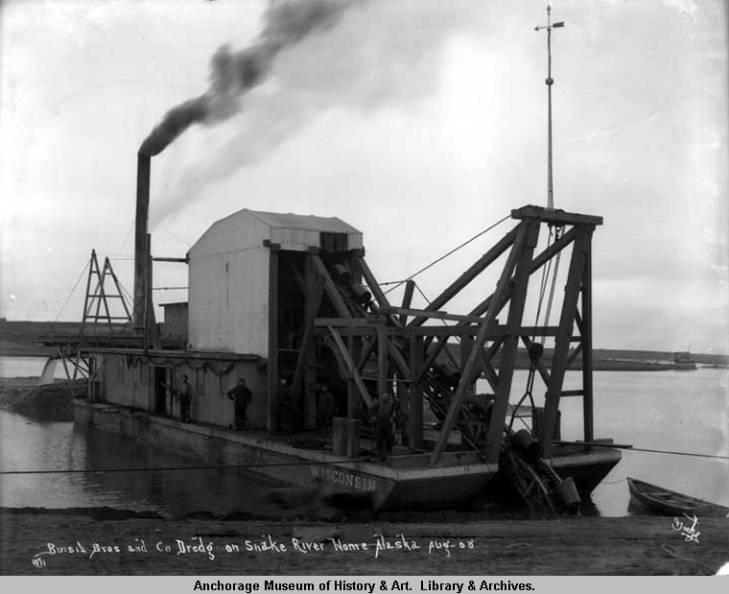 Bursik Bros. and Co. dredg[e] on Snake River, Nome, Alaska, Aug. [19]08..jpg