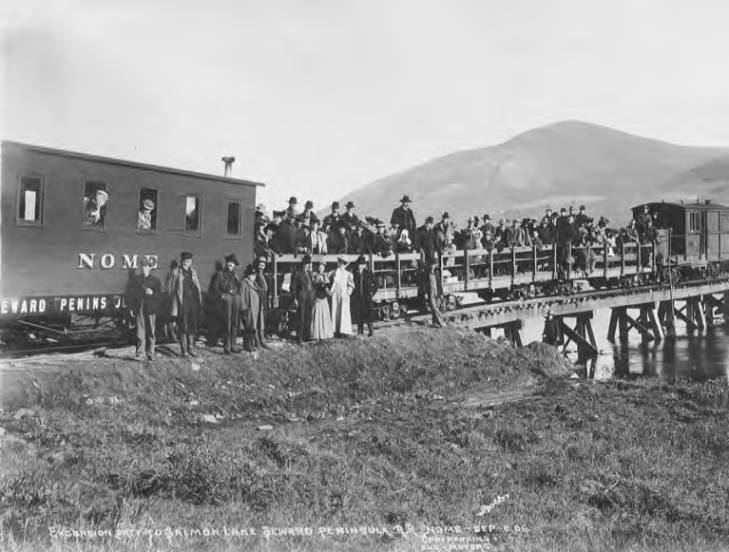 Excursion party on train to Salmon Lake on Seward Peninsula Railroad, vicinity of Nome, September 1906.jpg