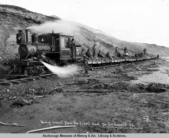 Hauling gravel from the gravel bank for Seward R[ail]r[oad], Nome River, Nome, Alaska..jpg