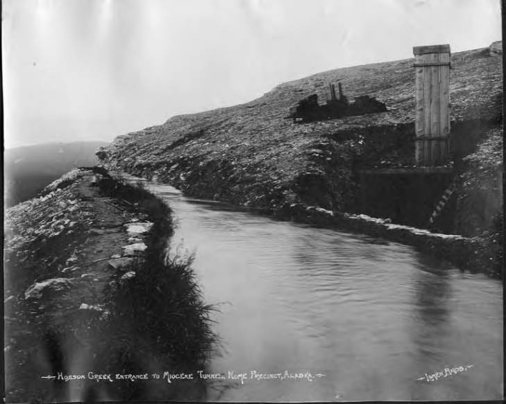 Hobson Creek and entrance to Miocene Tunnel, Nome, Alaska, circa 1910.jpg