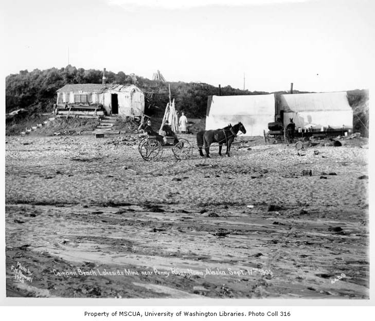 Horse-drawn wagons by camp on beach at the Lakeside Mine, near Penny River, September 17, 1905.jpg