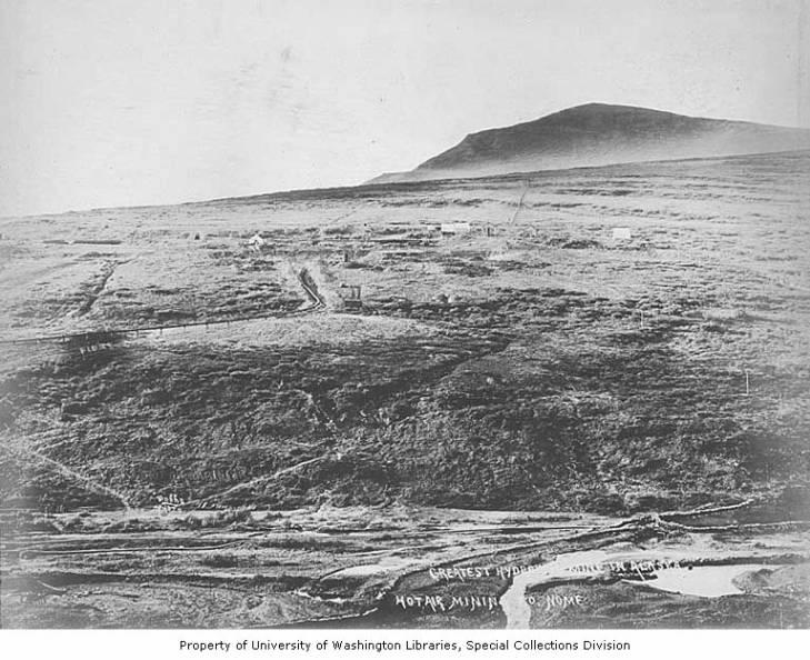 Hot Air Mining Company hydraulic mining operation on a hillside, Nome, Alaska, circa 1906.jpg