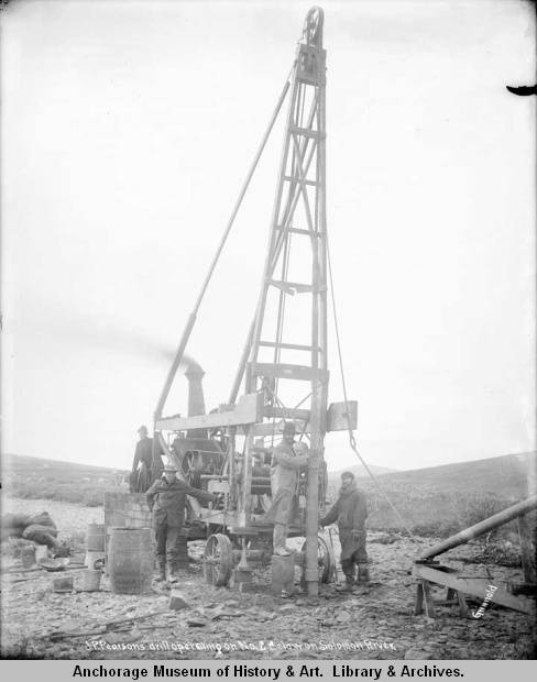 J.P. Pearson's drill operating on No. 2 below on Solomon Rive.jpg