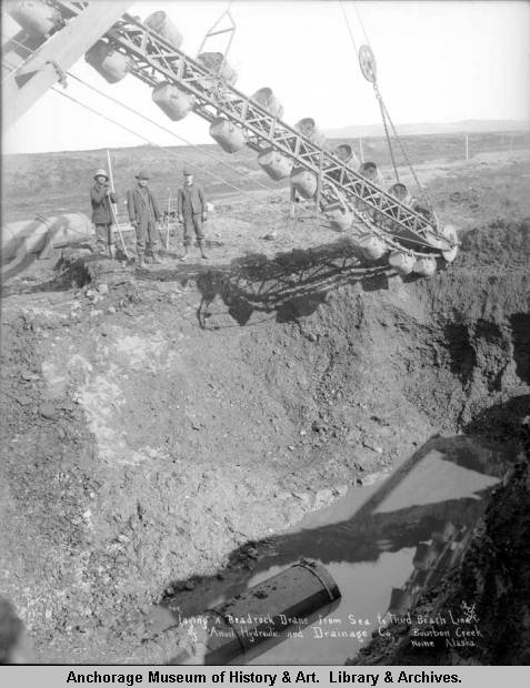 Laying a beadrock drane [sic] from sea to Third Beach Line by Anvil Hydraulic and Drainage Co., Bourbon Creek, Nome, Alaska..jpg